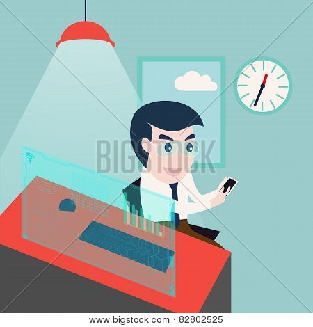 business man using smartphone and computer desktop