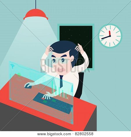 businessman working on computer problem