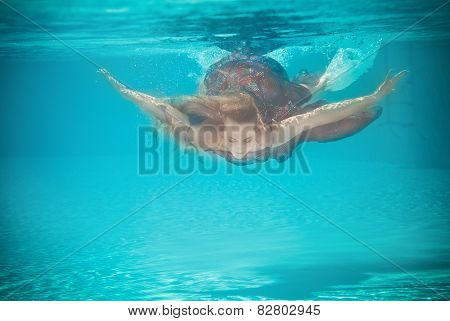 Underwater Woman Portrait In Swimming Pool