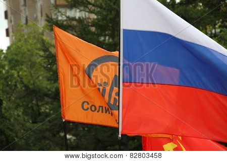 Flags On Oppositional Meeting - Russian, The Movements Solidarity, Communistic