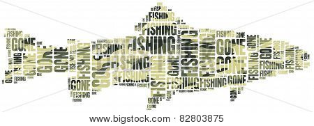 Gone Fishing. Word Cloud Illustration.