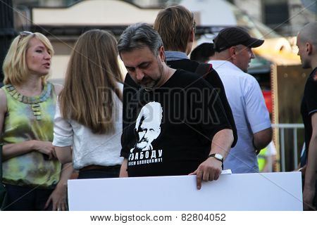 The Human Rights Activist Yury Dzhibladze In A T-shirt In Support Of The Belarusian Political Prison