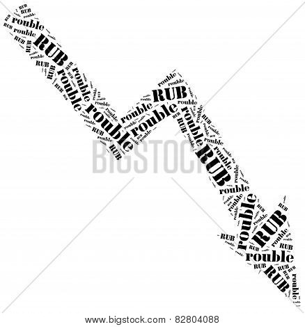Rouble Currency Drop. Word Cloud Illustration.