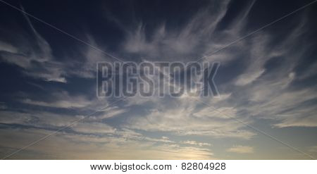 Cirrus Cloudscape At Sunset