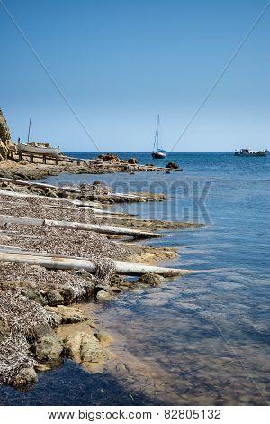 Landscape Image Of Old Mediteranean Fishing Village In Ibiza