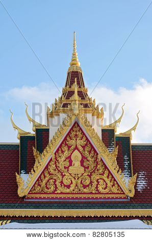 Buddhist Temple Rooftop And Spire