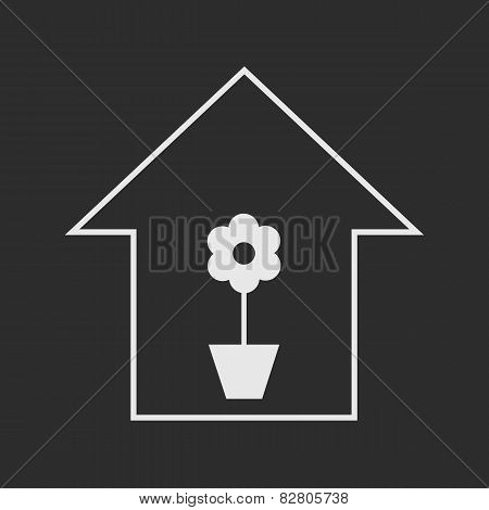 House With Plant. White On Dark Grey