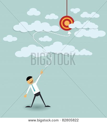 Businessman Point The Target In The Sky