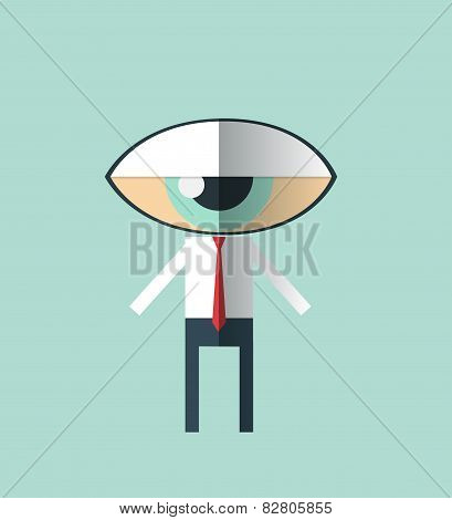Businessman With A Big Eye As Head