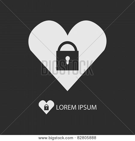 White Heart With Lock Logo On Dark Grey Background