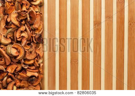 Dried Apples On A Bamboo Mat