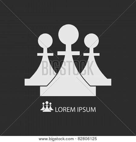 Three White Pieces Dark Grey Background