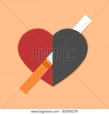 Heart Pierced With Cigarette