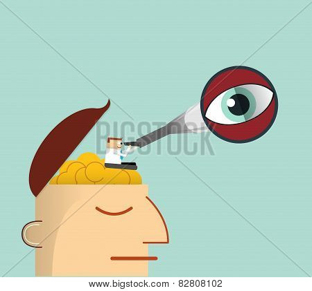 Businessman thinking . Businessman with Telescope