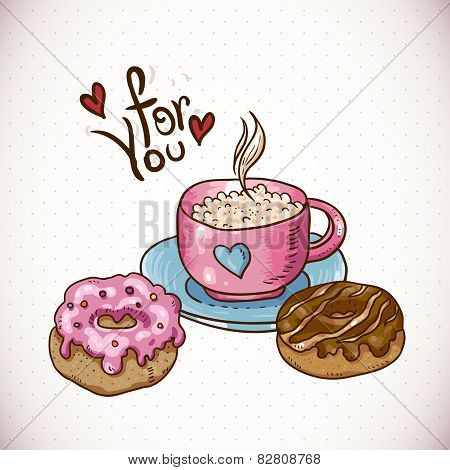 Greeting Card with a cup of coffee and donuts