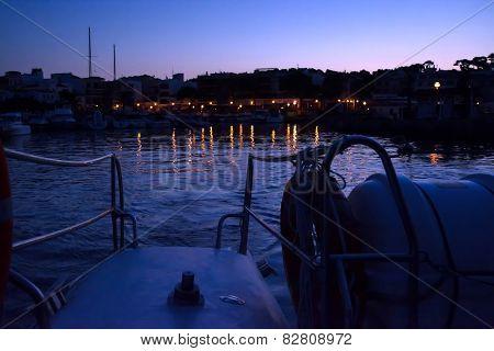 Cala Ratjada Harbor Lights At Dawn