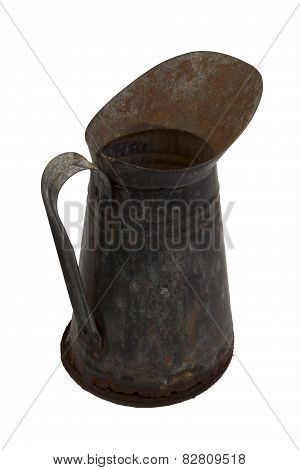 Rusty Metal Jug Isolated On White Background