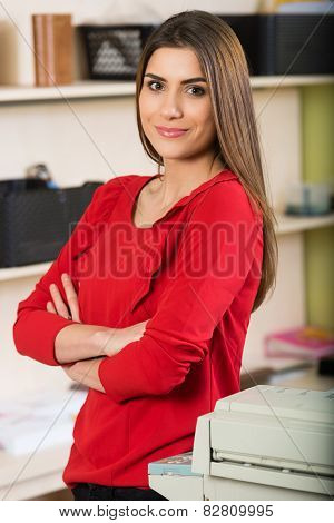 Relaxed young beautiful young business woman