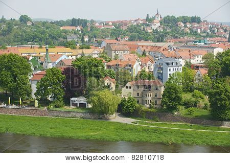 Exterior of the buildings along the bank of the Elbe river in Meissen, Germany.