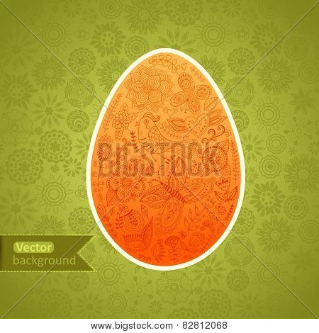 Easter egg made of flowers, floral Easter egg background. Happy