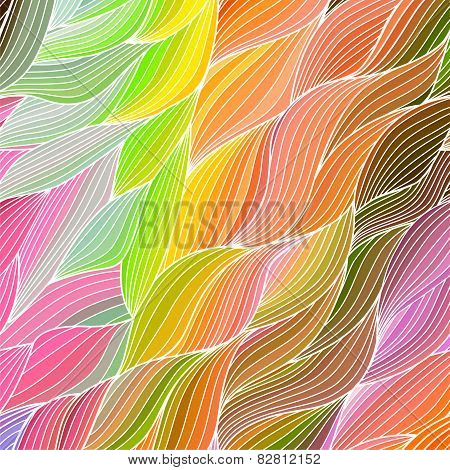 Vector wave hand-drawn pattern, waves background. Can be used fo