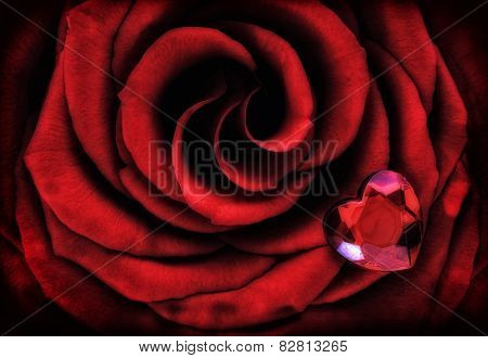 Macro Red Rose With Crystal Heart