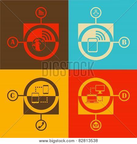 Flat design vector illustration technology and communication