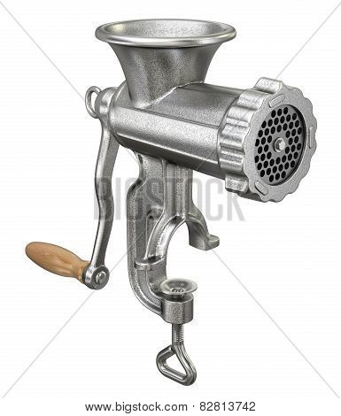 Old meat grinder isolated on white background