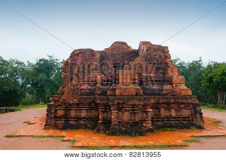 My Son Temple Red Bricks In Cloudy Weather Vietnam