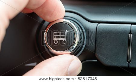 Man Turning A Dial With Shopping Cart Icon