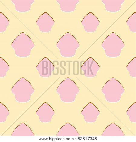 Abstract pink cupcake seamless pattern
