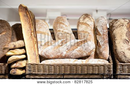 Shelf In The Shop Full Of  Different Kind Of Italian Bread