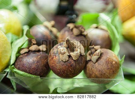Mangosteen Fruit Box, Close Up Of Shelf In Market