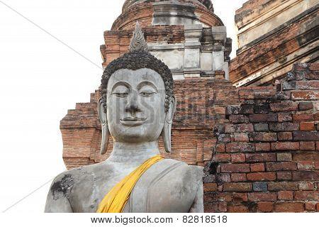 Buddha Status At Wat Yai Chaimongkol In Thailand