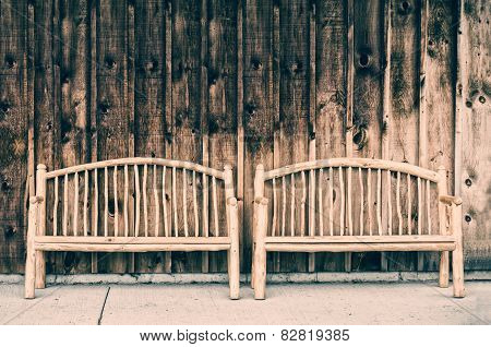 Two Rustic Wooden Log Benches - Retro