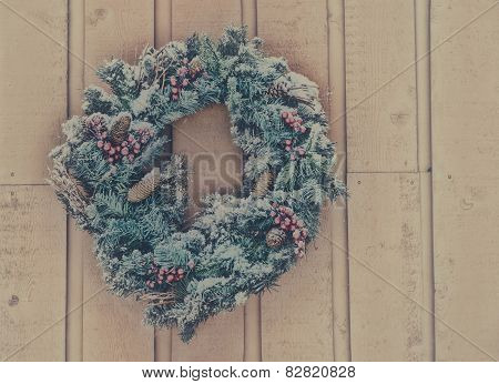 Snowy Christmas Wreath - Vintage Filtered