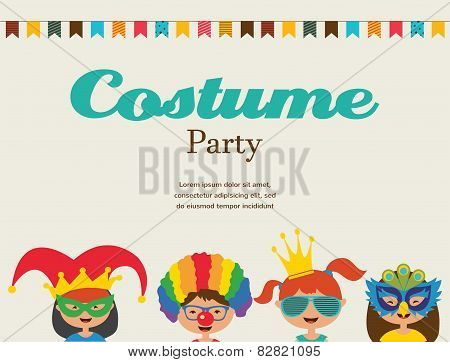 Invitation For Costume Party. Kids Wearing Different Costumes