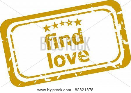 Find Love Stamp Isolated On White Background