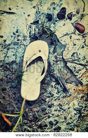 Abandoned Sandal On A Toxic Beach - Retro