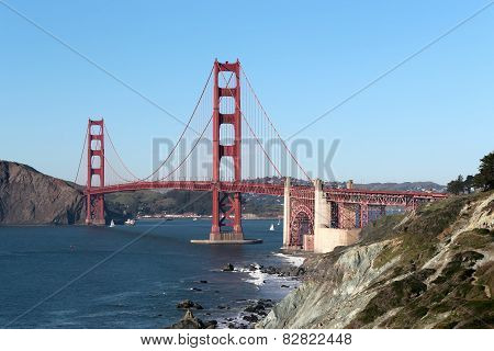 Landscape view on Golden Gate bridge