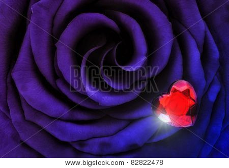 Macro Purple Blue Rose With Crystal Heart