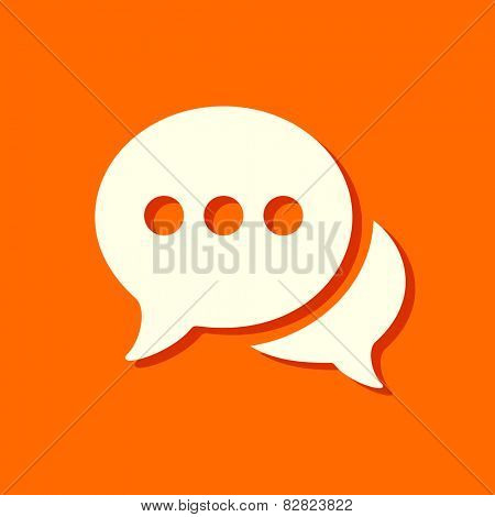 flat chat icon with shadow on orange background