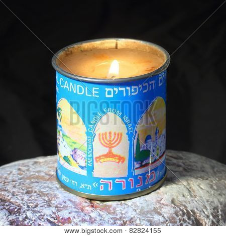 PILSEN CZECH REPUBLIC - FEBRUARY 13, 2015: Burning kosher candle for Yahrzeit and Yom Kippur (Memorial Candle) for Jewish Memorial.