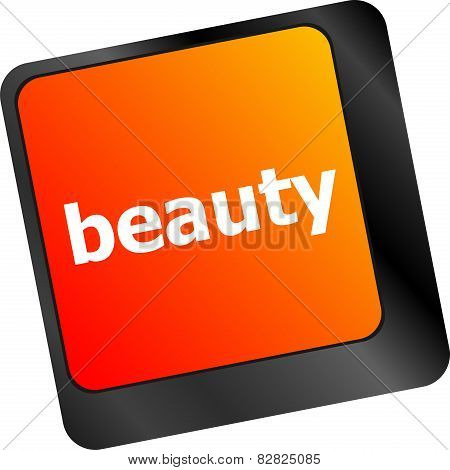 Beauty Word On Keyboard Key, Notebook Computer Button