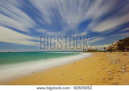 Clouds Sliding On The Beach Of The Towers
