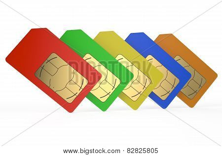 Group Of Color Sim Cards 3