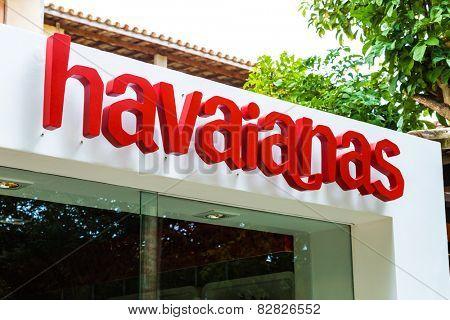PRAIA DO FORTE, BAHIA - CIRCA NOV 2014: Havaianas Store in Praia do Forte in Bahia, Brazil.