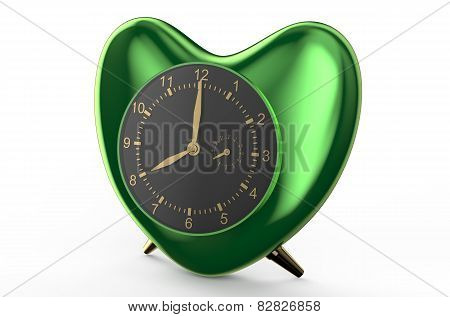 Green Clock In The Shape Of Heart