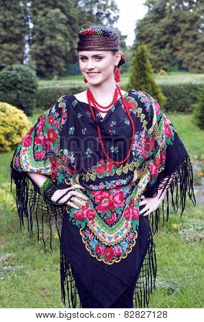 Happy  Slavonic Woman  In The Field
