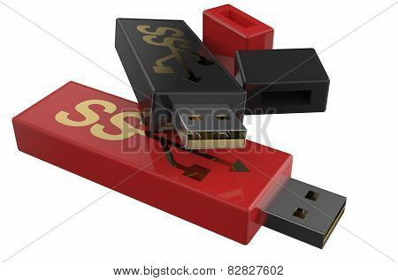 Usb Flashes Drive Ss 3.0 Red And Black
